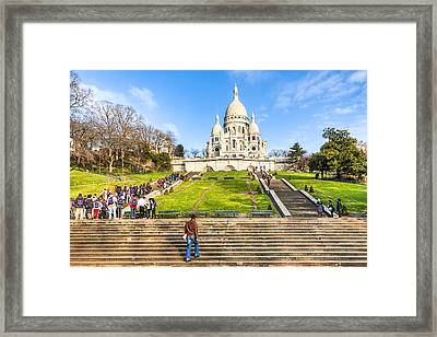 Sacre Coeur - Basilica Overlooking Paris Framed Print by Mark E Tisdale