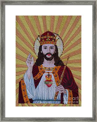 Sacred Heart Of Jesus Hand Embroidery Framed Print by To-Tam Gerwe