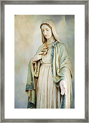 Sacred Heart Of Mary Framed Print by Karen Zucal Varnas