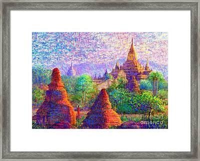 Bagan, Burma, Sacred Spires Framed Print by Jane Small