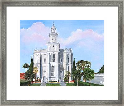 Sacred Steps St George Lds Temple Framed Print by Jane Autry