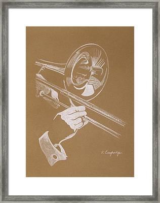 Sacred Trombone Framed Print by Karen  Loughridge KLArt