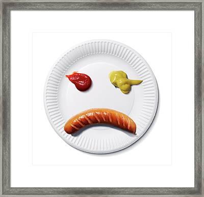 Sad Food Face Framed Print by Smetek