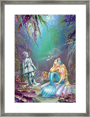 Sad Little Mermaid Framed Print by Zorina Baldescu