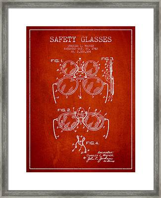 Safety Glasses Patent From 1942 - Red Framed Print by Aged Pixel