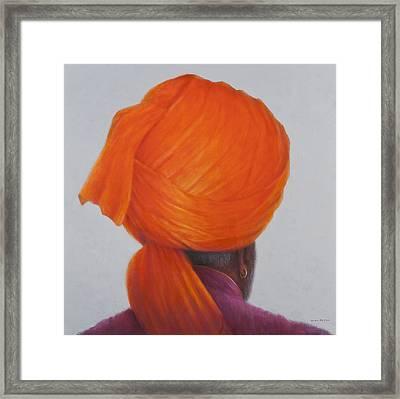 Saffron Turban, 2014 Oil On Canvas Framed Print by Lincoln Seligman