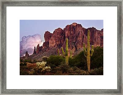 Saguaro Cactus And The Superstition Mountains Framed Print by Dave Dilli