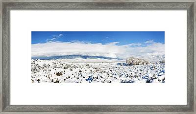 Sage Covered With Snow With Taos Framed Print by Panoramic Images