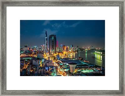 Saigon Aerial Night Skyline Framed Print by Fototrav Print