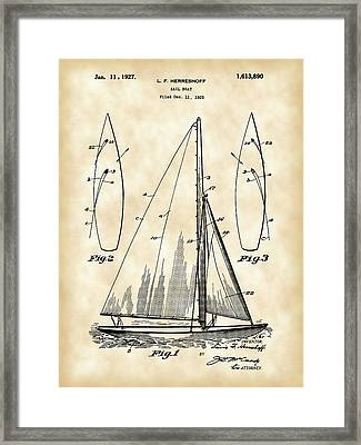 Sail Boat Patent 1925 - Vintage Framed Print by Stephen Younts