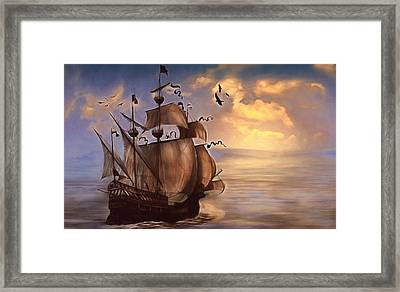 Sail Into My Dreams Vintage Framed Print by Georgiana Romanovna