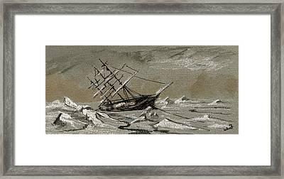 Sail Ship Arctic Framed Print by Juan  Bosco