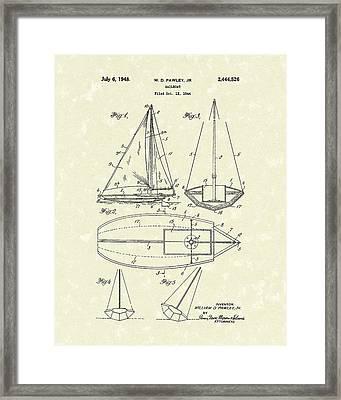 Sailboat 1948 Patent Art Framed Print by Prior Art Design