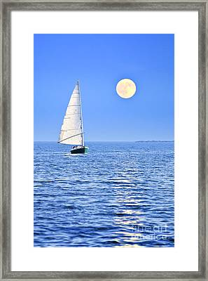 Sailboat At Full Moon Framed Print by Elena Elisseeva