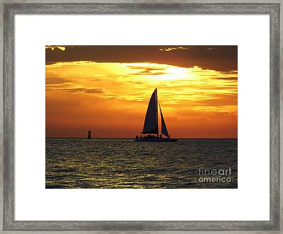 Sailboat At Sunset Framed Print by D Hackett