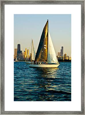 Sailboat In A Lake, Lake Michigan Framed Print by Panoramic Images