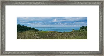 Sailboat In Water, Indiana Dunes State Framed Print by Panoramic Images