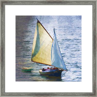 Sailboat Off Marthas Vineyard Massachusetts Framed Print by Carol Leigh