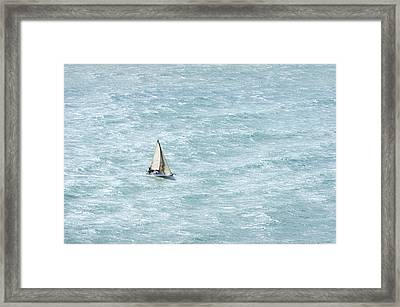 Sailboat With Wind And Rough Sea Framed Print by Mikel Martinez de Osaba