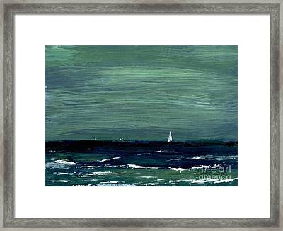 Sailboats Across A Rough Surf Ventura Framed Print by Cathy Peterson