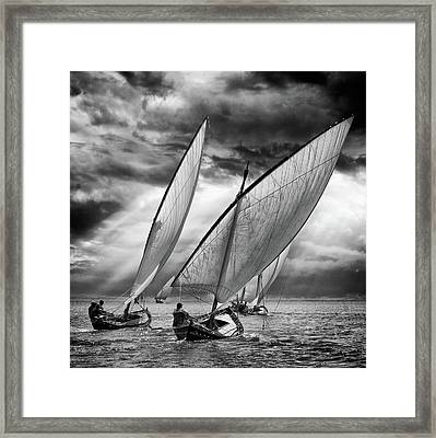 Sailboats And Light Framed Print by Angel Villalba