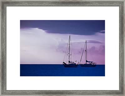 Sailboats At Sunset Framed Print by Don Schwartz
