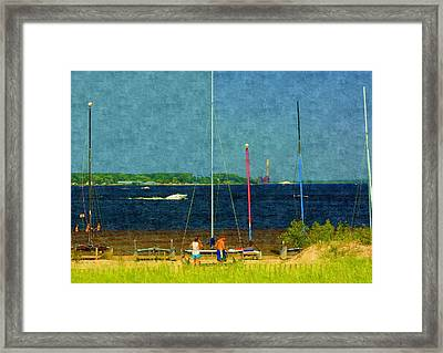 Sailboats Beached Framed Print by Rosemarie E Seppala