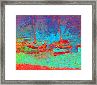 Sailboats In Port Collioure Iv Framed Print by Henri Martin - L Brown