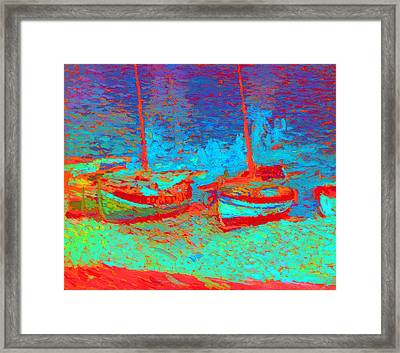 Sailboats In Port Collioure V Framed Print by Henri Martin - L Brown