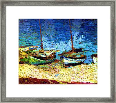 Sailboats In Port Collioure Viii Framed Print by Henri Martin - L Brown