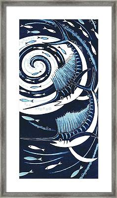 Sailfish, 2013 Woodcut Framed Print by Nat Morley