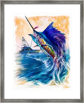 Sailfish And Sportfisher Art Framed Print by Savlen Art