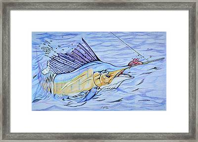Sailfish On The Line Framed Print by Edward Johnston