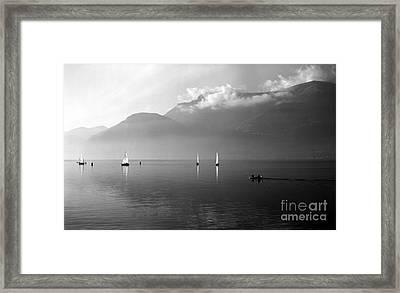 Sailing Boats On Como Lake Framed Print by Riccardo Mottola