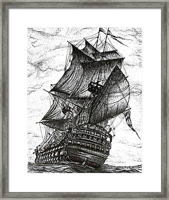 Sailing Drawing Pen And Ink In Black And White Framed Print by Mario Perez