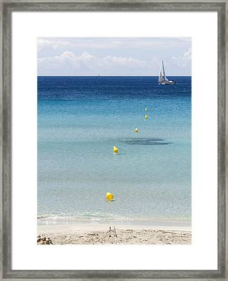 Son Bou Beach In South Coast Of Menorca Is A Turquoise Treasure - Sailing In Blue Framed Print by Pedro Cardona