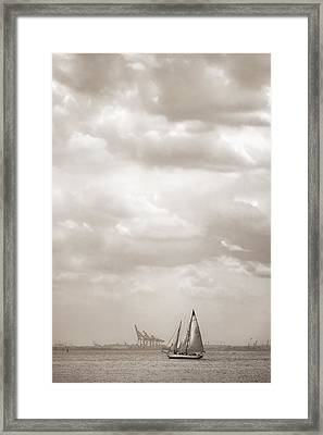 Sailing In New York Harbor - Nautical Framed Print by Gary Heller