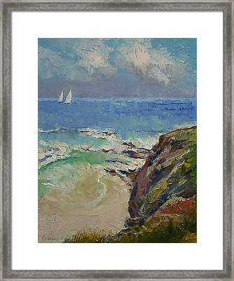 Sailing Off The Cove Framed Print by Michael Creese