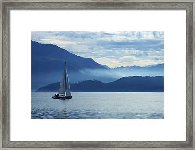 Sailing On Lake Zug Framed Print by Ron Sumners