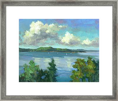 Sailing On Puget Sound Framed Print by Diane McClary