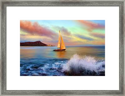 Sailing Past Waikiki Framed Print by Dale Jackson