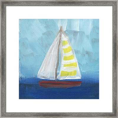Sailing- Sailboat Painting Framed Print by Linda Woods