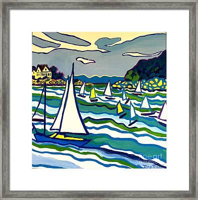 Sailing School Manchester By-the-sea Framed Print by Debra Bretton Robinson