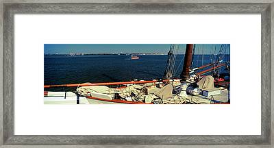 Sailing Ship In The Ocean, Charleston Framed Print by Panoramic Images