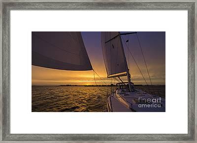 Sailing Yacht Sunset Charleston South Carolina Skyline Framed Print by Dustin K Ryan