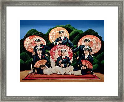 Sailors With Umbrellas Framed Print by Anthony Southcombe