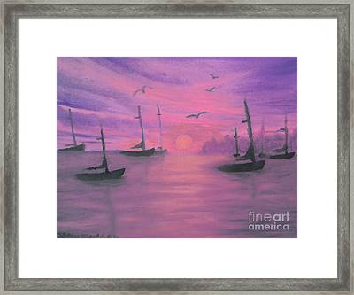 Sails At Dusk Framed Print by Holly Martinson