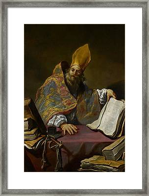 Saint Ambrose Framed Print by Claude Vignon