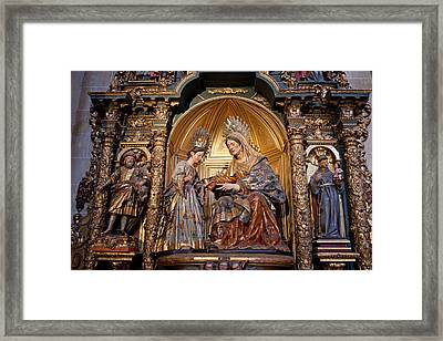 Saint Anne And Virgin Mary Sculptures In Seville Cathedral Framed Print by Artur Bogacki