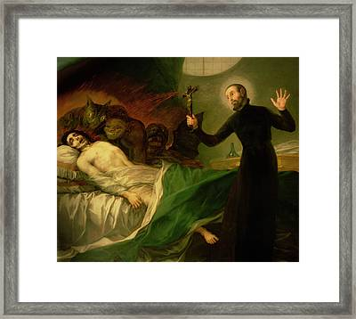 Saint Francis Borgia Helping A Dying Impenitent Framed Print by Goya